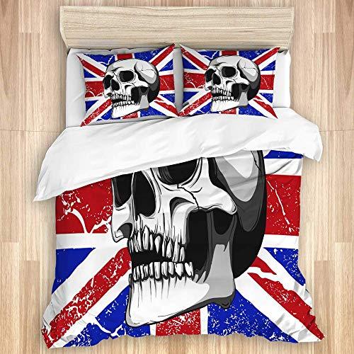 Juego de funda nórdica de 3 piezas, calavera con una bandera de Inglaterra en el fondo, juegos de fundas de edredón de microfibra de lujo para dormitorio, colcha con cremallera con 2 fundas de almohad