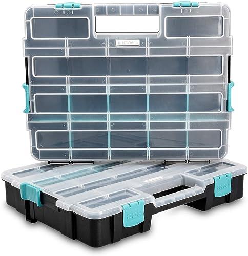 Navaris Organiseur Outils Vide - 2x Boîte à Outil à Empiler - 37,5 x 29 x 13,4 cm - Valise Empilable pour Rangement M...