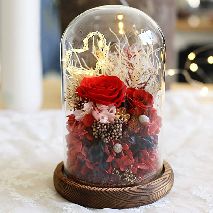 阻害する同様の王朝プリザーブドフラワー, ギフトボックスガラスカバーローズフラワークリスマスギフト誕生日ギフトクリエイティブデコレーションギフトボックスマジックギフトホームデコレーションホリデーパーティー結婚記念日,B