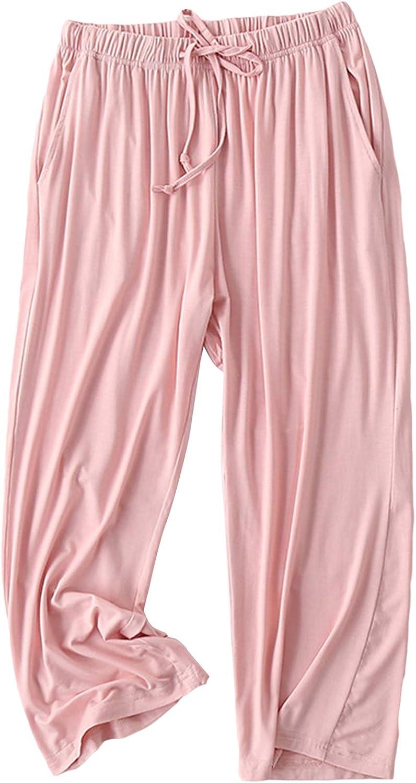 Lu's Chic Women's Capri Pajama Pants Cropped Soft Loungewear Thin Sleepwear with Pockets