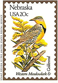 Nebraska State Bird & Flower trading card (Western Meadowlark & Goldenrod) 1991 Bon Air #27