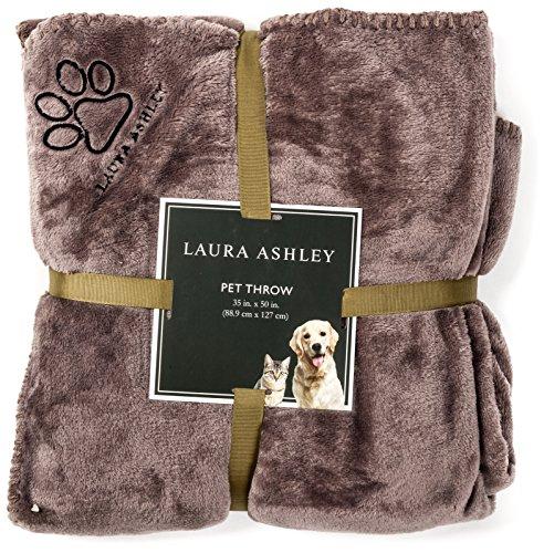 Laura Ashley Reversible Micro Fur Pet Dog Bed Blanket Throw Slate Grey Gray