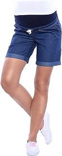 MijaCulture Maternity pregnancy denim jeans shorts pants with elastic panel 4122