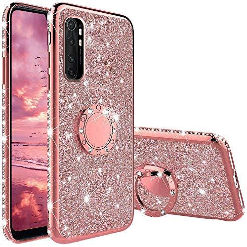 Hülle für Xiaomi Mi Note 10 Lite, Glitzer Bling Glänzend Strass Diamant Handyhülle mit 360 Grad Ring Ständer Superdünn Stoßfest TPU Silikon Tasche Schutzhülle - Rosé Gold