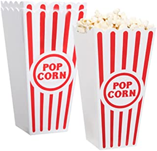"""[Novelty Place] Plastic Red & White Striped Classic Popcorn Containers for Movie Night - 7.8"""" Tall x 3.8"""" Square (8 Pack)"""