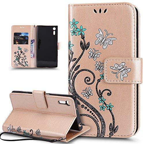 Kompatibel mit Schutzhülle Sony Xperia XZ/XZs Hülle Handyhülle Tasche Hülle,Bunte Gemalt Prägung Schmetterlings Blumen PU Lederhülle Flip Hülle Cover Ständer Wallet Tasche Hülle Schutzhülle,Gold