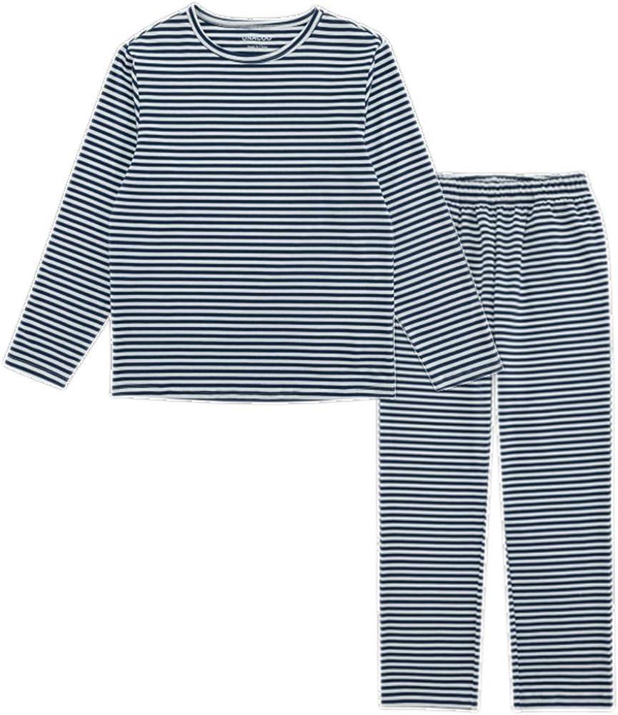 UNACOO Toddler Kids Boys Girls Long-Sleeves Sleepwear 2-Piece Cotton Pajama Sets (Age 3-12 Years)(Navy Stripe Sets, s)