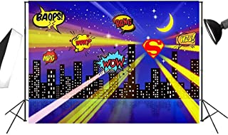 7x5ft Superhero Party Backdrops for Children Birthday Party or Bedroom Decoration of City Night Scene Photography Background FT021