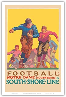 Football - University of Notre Dame, Indiana - South Shore Line, South Bend Station - Vintage Railroad Travel Poster by Oscar Rabe Hanson c.1926 - Master Art Print - 12in x 18in