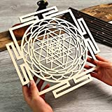 "Simurg Sri Yantra Wall Art 11.5"" Wooden Crystal Grid Sacred Geometry Wall Decor Wall Hanging Altar Decoration Shree Yantra, Shri Yantra"