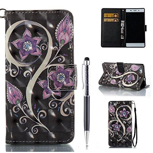 ZCRO Handytasche für Huawei P8 Lite 2015/2016, Leder Schutzhülle Brieftasche Hülle Flip Hülle 3D Muster Cover mit Kartenfach Magnet Tasche Handyhüllen für Huawei P8 Lite 2015/2016 (Elegant Blumen)