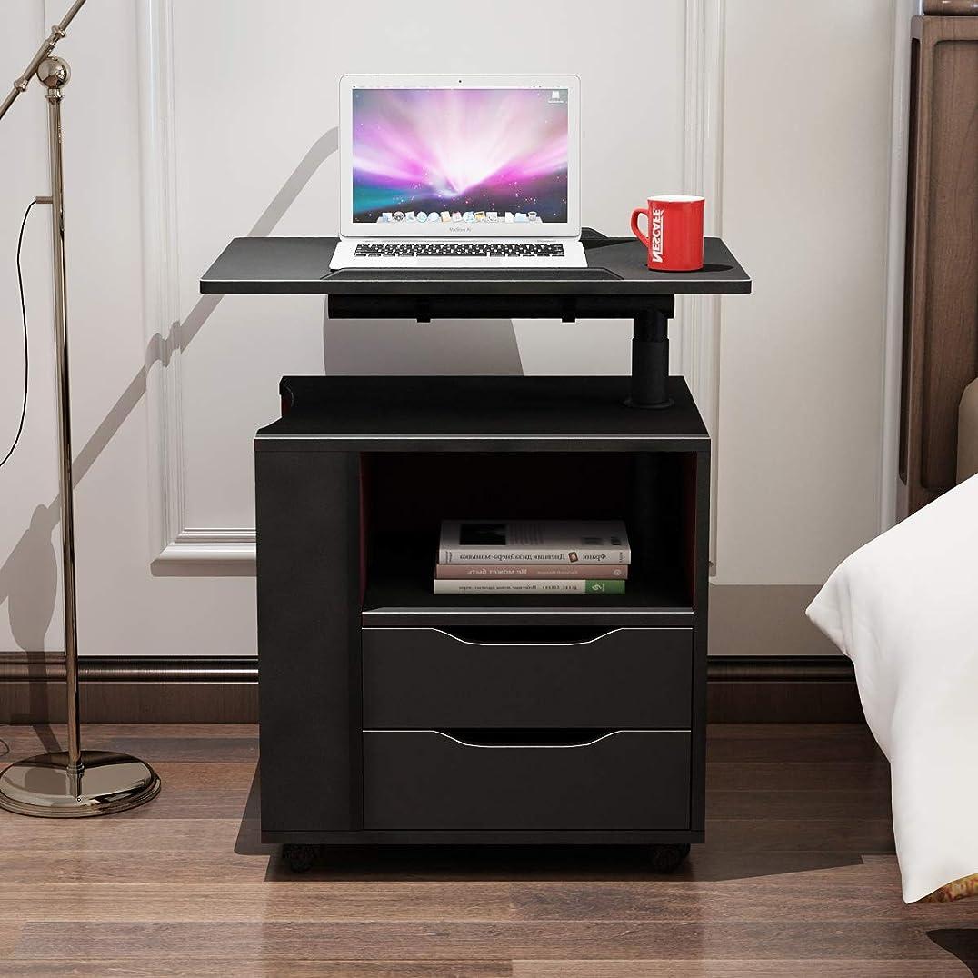 役に立たない含む仲間、同僚Soges 昇降式サイドテーブル ナイトテーブル チェスト サイドテーブル 可移動デスク キャスター付きデスク キャスター サイドワゴン CT1-BK-NEW