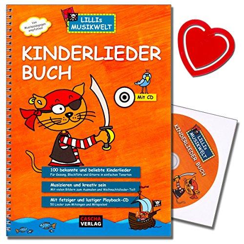 Kinderliederboek Lillis Muziekwereld Songbook met 100 bekende en populaire kinderliedjes voor zang, blokfluit en gitaar in eenvoudige toonsoorten met bonte hartvormige muziekklem - HH1017 - 4026929917546