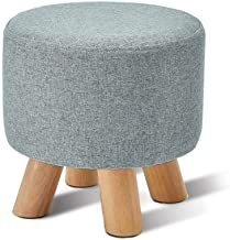 Yxsdd Changing Stool Shoe Stool Chair Stool Round Ottoman Armchair Removable Covers Footrest Upholstered with 4 Foot Wood ...