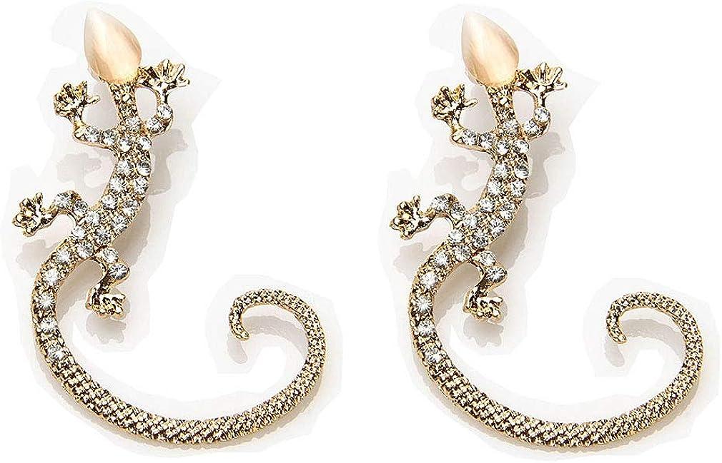 Fashion Crystal Gecko Ear cuffs & wraps Earring Reptile Animal Lizard Ear Hanging Earring for Women
