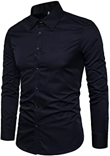 LOCALMODE Men's Slim Fit Cotton Business Shirt Solid Long Sleeve Button Down Dress Shirts
