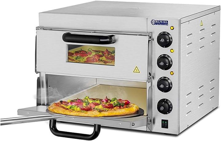 Forno elettrico professionale per pizza 350°c a due ripiani royal catering 1832