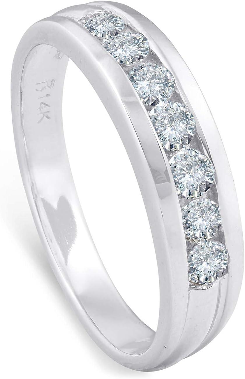 5/8ct Diamond Wedding 14K White Gold Anniversary Ring