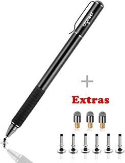 Digiroot Universal Stylus,[2-in-1] Disc Stylus Pen 2018 UPDATED Touch Screen Pens for All Touch Screens Cell phones, Tablets, Laptops with 9 Replacement Tips(6 Discs, 3 Fiber Tips Included) - (Black)