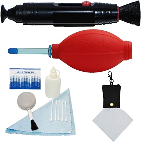 PLR Optics Professional Cleaning Kit - Includes: Lens Cleaning Pen System + Deluxe 5 Piece Cleaning Kit + Air Blower Cleaner + Premium Microfiber Cleaning Cloth For The Nikon D5300, D5000, D3000, D3200, D5100, D5200, D3100, D7000, D7100, D4, D800, D800E, D600, D610, D40, D40x, D50, D60, D70, D80, D90, D100, D200, D300, D3, D3S, D700, Digital SLR Cameras