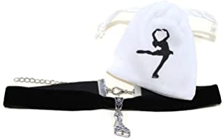 Ice Skating Choker Necklace with Figure Skate Pendant, ice Skating Gift Accessory