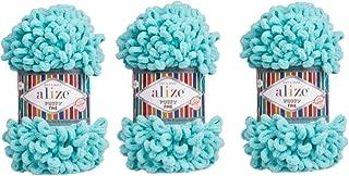 Alize Puffy Fine Yarn Baby Blanket Yarn Lot of 3skn 300gr 48yds 100% Micropolyester Soft Yarn Hand Knitting Yarn Super Chunky Bulky Woven Worested Yarn (263)