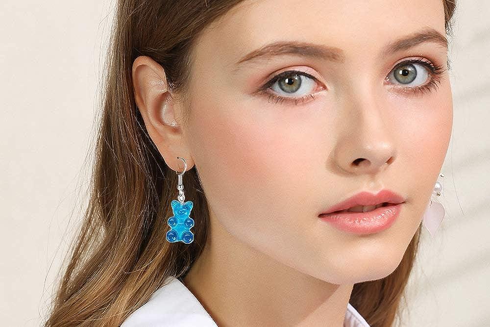 RUIZHEN 3 Pairs Set Creative Cute Gummy Bear Dangle Earrings Cartoon Dangle Earrings