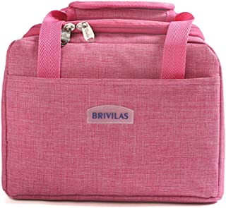 Insulated Lunch Bag - Lunch Box Cooler Tote Bento Container for Women Men, Leakproof Thermal Lunch Container with Front Pocket for School/Work/Picnic (Pink)