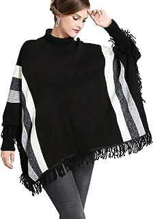 FOLOBE Jersey de Mujer Jersey de Punto Suelto Jersey de Cuello Alto Batwing Manga Larga