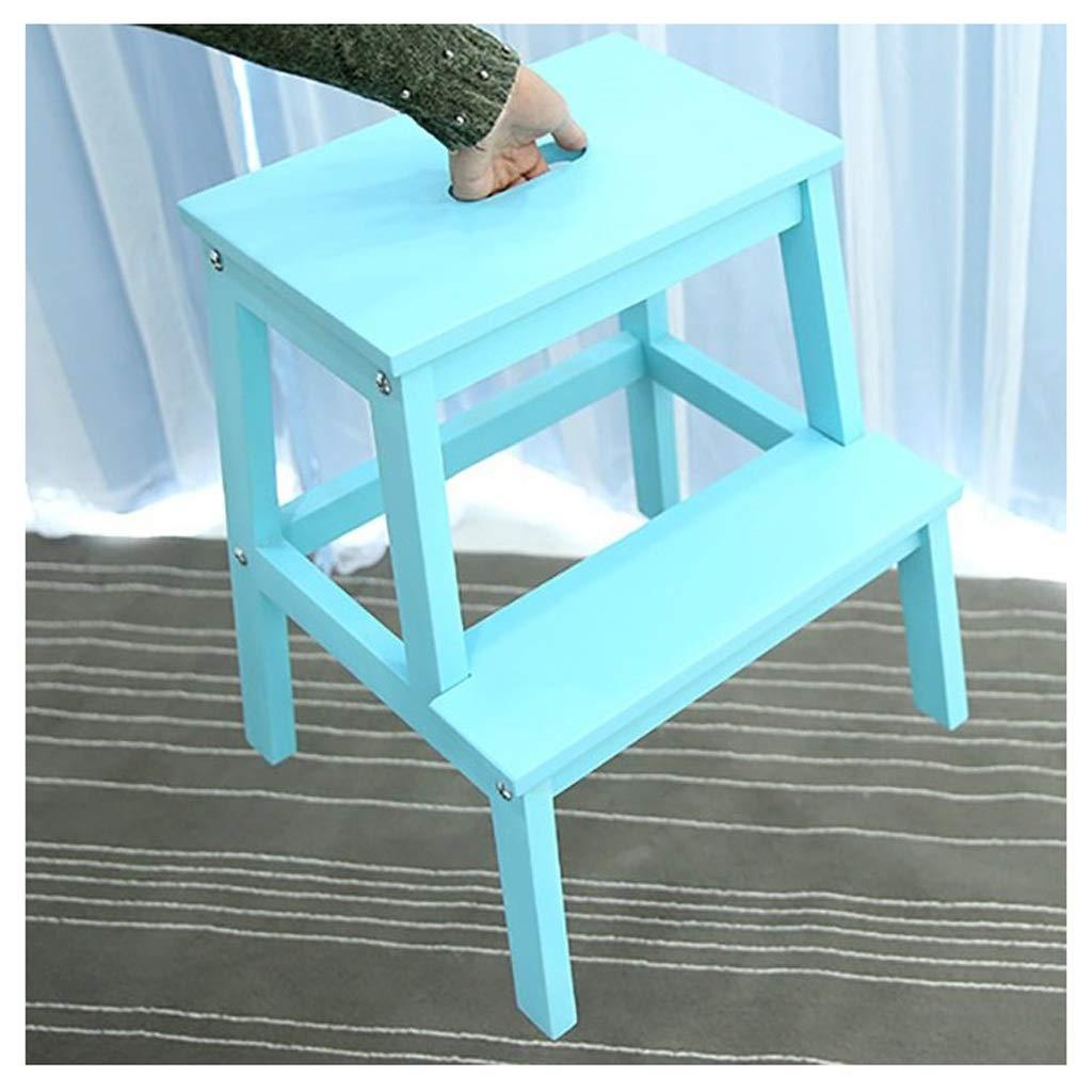 Chair Escalera de Madera de Dos Pasos Escalera de Madera Banco pequeño Zapato de baño Banco de Zapatos portátil, Escalera de Tijera de Escalada para Adultos y niños 7 Colores Disponibles KADJ:
