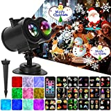 Ocean Wave Christmas Projector Lights, Remote Control 2-in-1 Moving Patterns W/Water Wave LED Landscape Holiday Night Lights Waterproof...