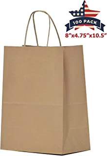 QUTUUS Brown Paper Bags with Handles Bulk 8x4.75x10.5 100 pcs Brown Paper Gift Bags Bulk, Kraft Paper Bags, Kraft Bags, Shopping Bags, Party Bags, Retail Bags, Paper Bag