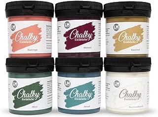 LM-Kreativ Chalky Kreidefarbe Cuba - - Finish Kreide-Farbe, Pastell, Vintage-Look, Shabby-Chic-Look, Land-haus-Stil, Chalky-Sets, ähnlich Viva Decor deckend, 6 x 80 ml
