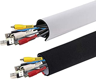 """AGPTEK Neoprene Adjustable Cable Sleeves 59""""*5.3"""" Wire Management Sleeves for TV Home Theater Entertainment Center PC Cabl..."""