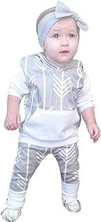 女婴花朵连帽长袖运动衫袋鼠口袋套头上衣 + 长裤秋季套装