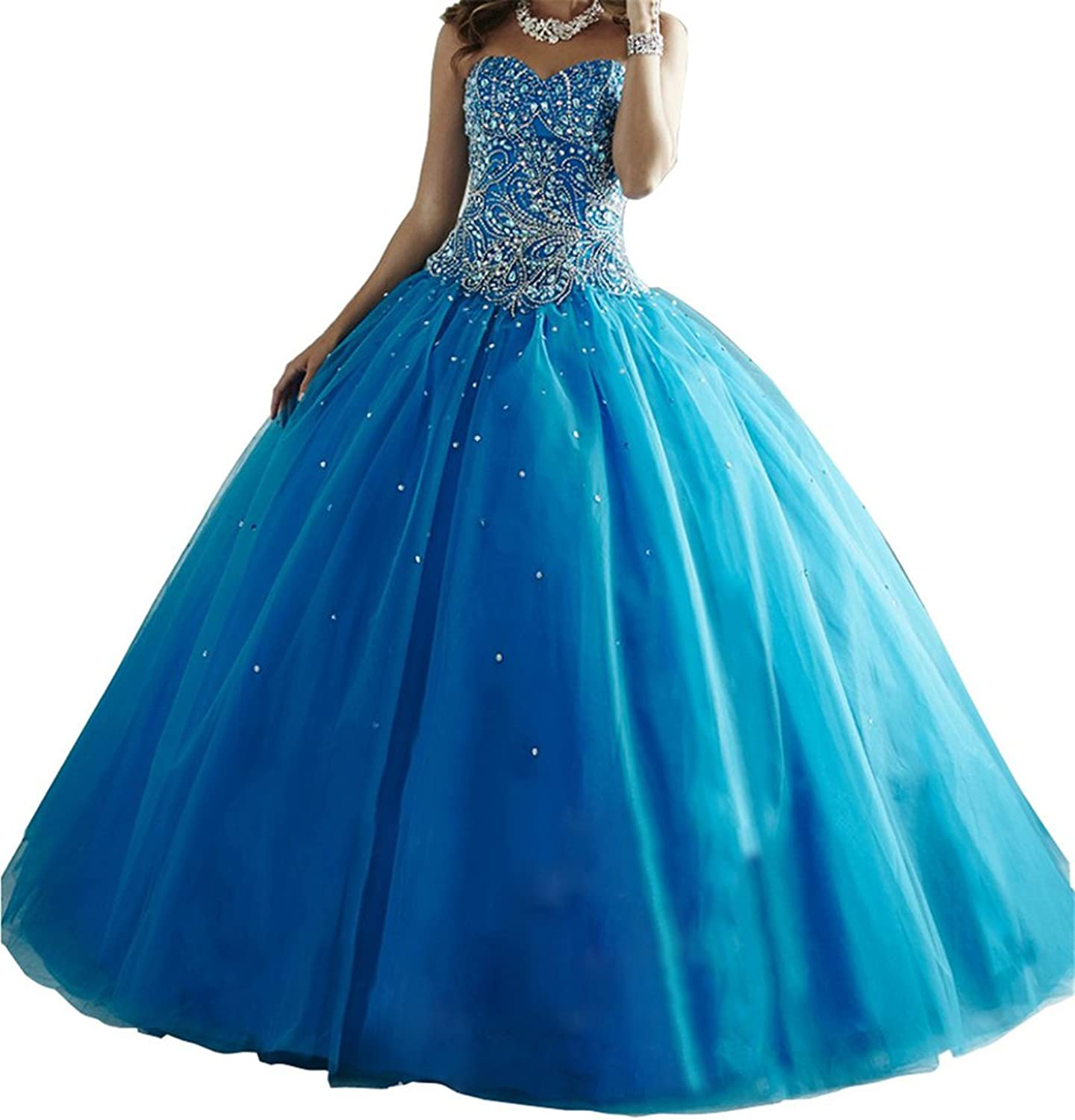 MCandy Turquoise Women Quinceanera Sweet Girls Party Gowns Long Dresses