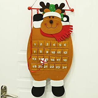 PSATO Christmas Advent Calendar 24 Day Hanging Felt Holiday Countdown Reusable House Decorations for Kids Measures 28