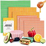 Beeswax Wraps Food Wraps Set of 6 Pack | Eco Friendly Cling Film Alternative | Cheese and Sandwich Wrappers | Washable Bowl Covers | Reusable Food Wraps