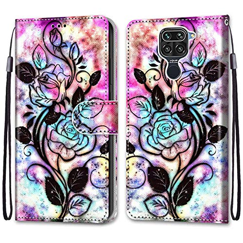IMEIKONST Flip Case for Redmi Note 9 Cute Creative Painted Designed Premium PU Leather Wrist Strap Wallet Magnetic Stand Box Cover for Xiaomi Redmi Note 9 Black Flower DK
