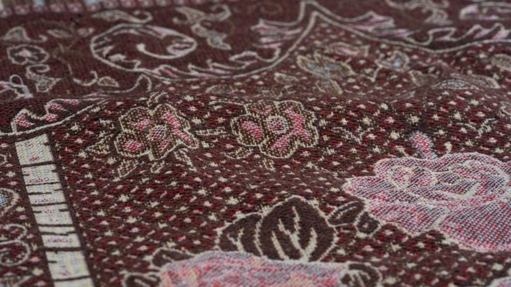 Islam Portable Muslim Prayer Mat with Storage Bag Thin Sajadah AMN-164 Chenille Woven Embroidered Travel Rug Brown
