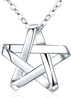 S925 Sterling Silver Star Necklace, Dainty Star Pendant with White Gold Plated, Star Jewelry Gift for Women Wife Girlfrien...