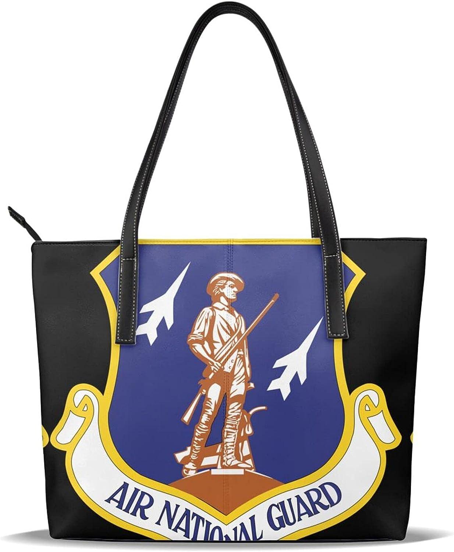 Max 76% OFF Air National Guard Print Handbag Leather Women Leathe OFFicial Microfiber
