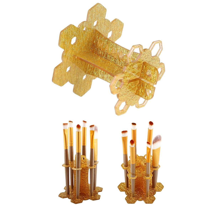 伝導率肉腫悪性Yumbyss - 6つの穴メイクブラシホルダ風乾オーガナイザーシェルフツリーブラシオーガナイザー化粧ブラシドライヤーストレージ[ゴールド]スタンドメイクアップラック