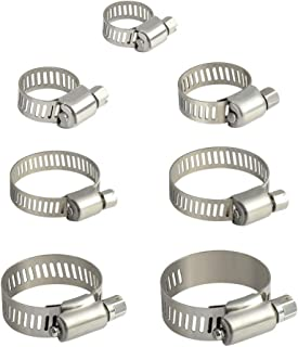 INCREWAY 60pcs Hose Clamp Assortment Adjustable 6-38mm Range Stainless Steel Hose Pipe Clamps Clips Fastener 7 Size