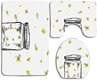 Huayuanhurug Hand Drawn Yellow Spotted Fireflies Flying Around a Jar Artistic Design 3pcs Bathroom Rugs Set,Non Slip Absorbent Toilet Seat Cover Bath Mat Lid Cover