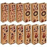 12 Pcs Sacs de bouteille de vin Kraft Sacs de bouteille en papier Sacs-cadeaux pour le vin Sac de bouteille de Noël réutilisable avec poignée 4 Motif conçu Paquet-cadeau de bouteille de vin portable