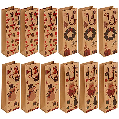 Gukasxi 12 Stück Weihnachts Flaschen Tasche Geschenktüten Flaschen Weihnachten Kraft Papier Flaschentaschen Geschenktüten für Wein Wiederverwendbare mit Griff 4 Weihnachtsmuster Designed Tragbare