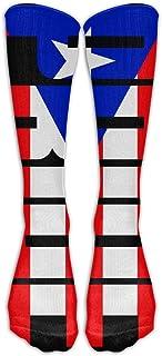 xinfub, Calcetines hasta la rodilla con bandera del orgullo de Puerto Rico HombresCómodosMujeres Medias largas de tubo atlético para correr, caminar, fútbol Cómodo11031