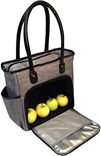 Lunch Bag Tote for Women Insulated, Womens Lunch-box Cooler Bags for Work, Ladies Commuter Totes, Meal Prep Handbag Purse with Zipper, Medium Grey, Black Shoulder Strap