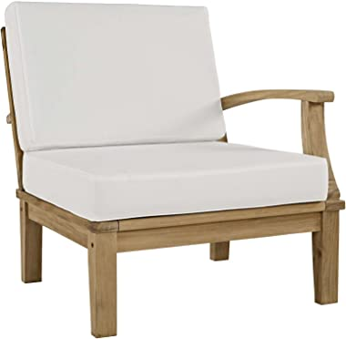 Modway EEI-1149-NAT-WHI-SET Marina Premium Grade A Teak Wood Outdoor Patio, Right-Facing Sofa, Natural White